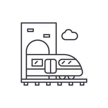 Train line icon concept. Train vector linear illustration, symbol, sign Illustration