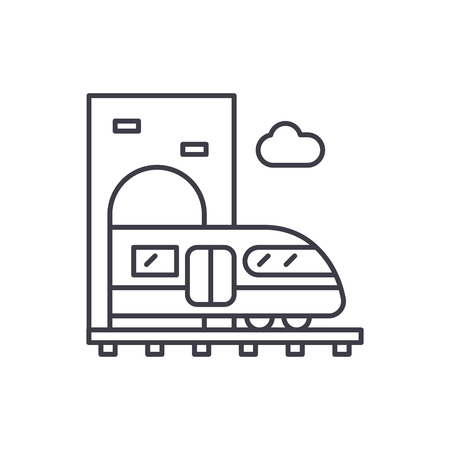 Train line icon concept. Train vector linear illustration, symbol, sign Иллюстрация