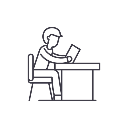 Training at work line icon concept. Training at work vector linear illustration, sign, symbol Illustration