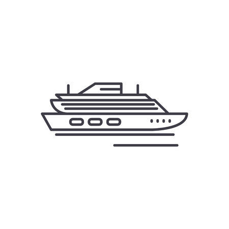 Travel cruise ship line icon concept. Travel cruise ship vector linear illustration, sign, symbol