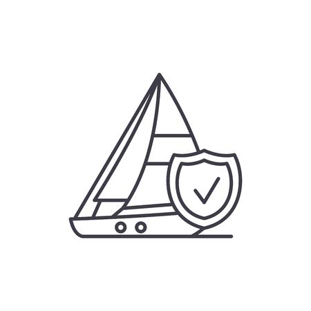 Travel insurance line icon concept. Travel insurance vector linear illustration, sign, symbol