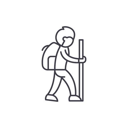 Reisender Symbol Leitung Konzept. Lineare Vektorgrafik des Reisenden, Zeichen, Symbol