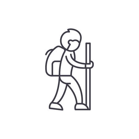 Traveler line icon concept. Traveler vector linear illustration, sign, symbol