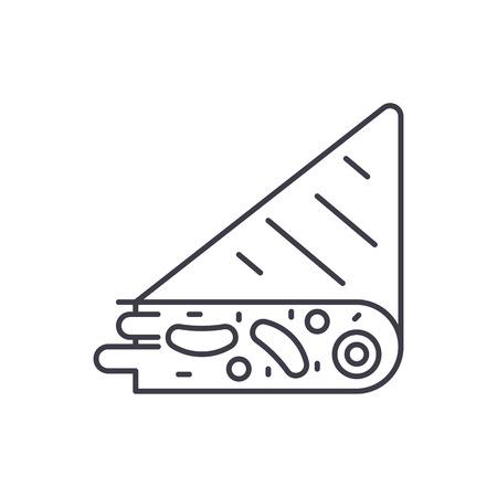 Tortilla line icon concept. Tortilla vector linear illustration, sign, symbol