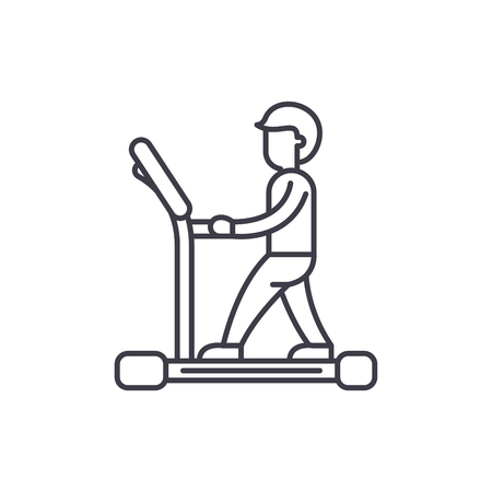 Treadmill line icon concept. Treadmill vector linear illustration, sign, symbol Ilustracja