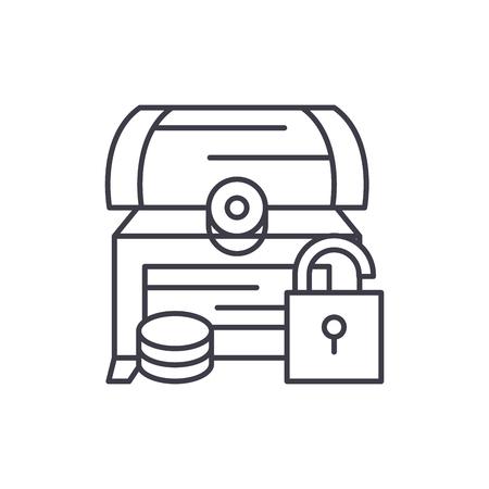 Treasure chest line icon concept. Treasure chest vector linear illustration, sign, symbol