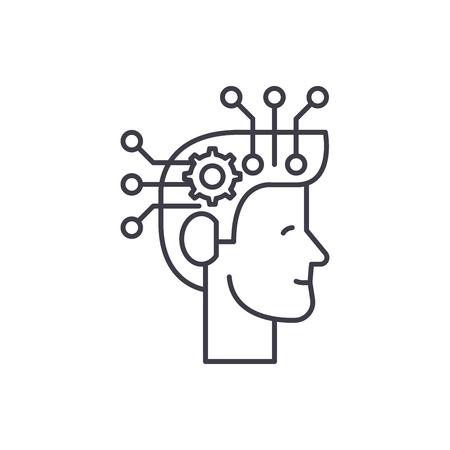Strategic thinking line icon concept. Strategic thinking vector linear illustration, sign, symbol Illustration