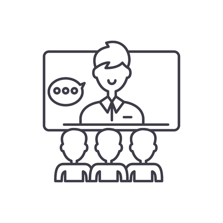 Teleconference line icon concept. Teleconference vector linear illustration, sign, symbol