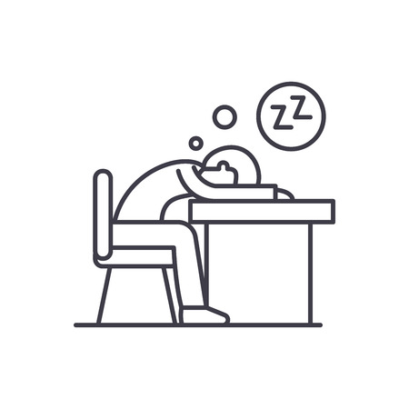 Tired at work line icon concept. Tired at work vector linear illustration, sign, symbol Illusztráció