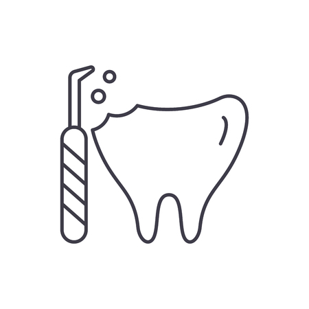 Treatment of caries line icon concept. Treatment of caries vector linear illustration, sign, symbol