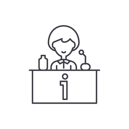Tv celebrity line icon concept. Tv celebrity vector linear illustration, sign, symbol Illustration