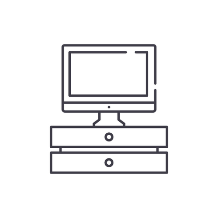 Tv with stand line icon concept. Tv with stand vector linear illustration, sign, symbol