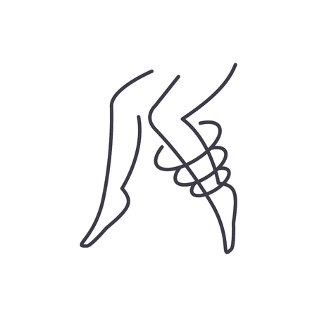 Varicose veins line icon concept. Varicose veins vector linear illustration, sign, symbol