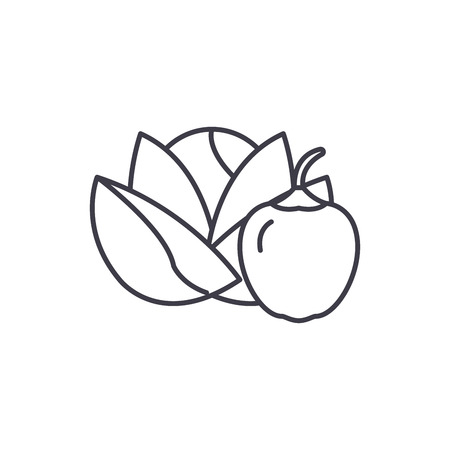 Vegetables and fruits line icon concept. Vegetables and fruits vector linear illustration, sign, symbol