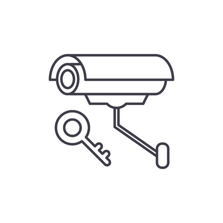 Video alarm line icon concept. Video alarm vector linear illustration, sign, symbol