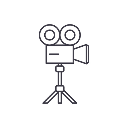 Video shooting line icon concept. Video shooting vector linear illustration, sign, symbol