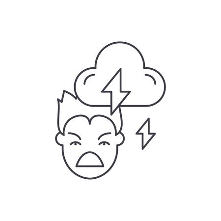 Violence line icon concept. Violence vector linear illustration, sign, symbol Illustration