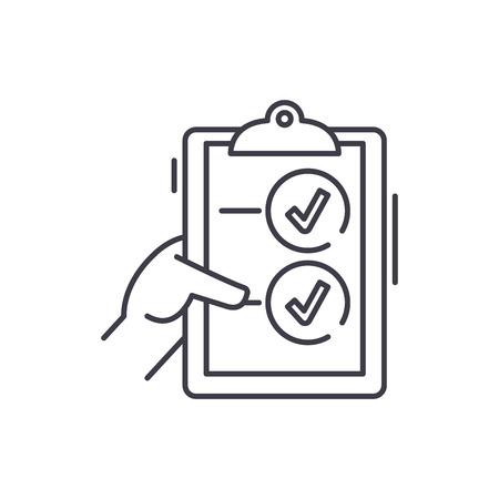 L'icône de la ligne de vote concept. Illustration linéaire vectorielle de vote, signe, symbole