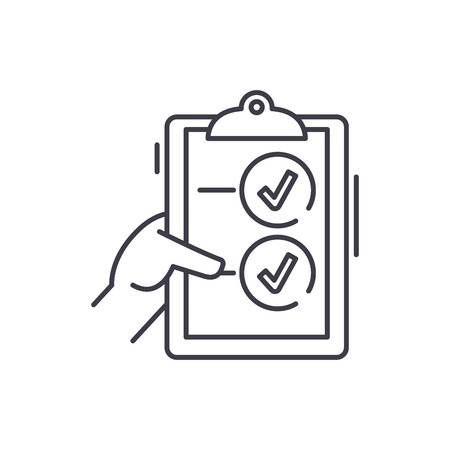 Voting line icon concept. Voting vector linear illustration, sign, symbol