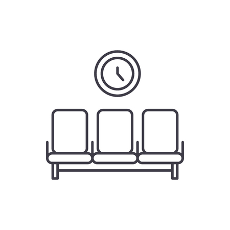 Waiting room line icon concept. Waiting room vector linear illustration, sign, symbol