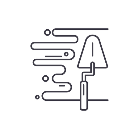L'icône de la ligne de plâtre mural concept. Illustration linéaire vectorielle de plâtre mural, signe, symbole