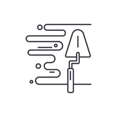 Wandputz Symbol Leitung Konzept. Lineare Illustration des Wandputzvektors, Zeichen, Symbol