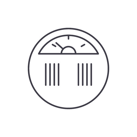 Weight measurement line icon concept. Weight measurement vector linear illustration, sign, symbol Illustration