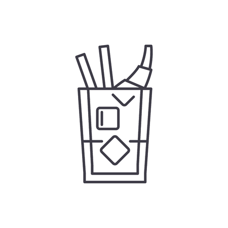 Whiskey line icon concept. Whiskey vector linear illustration, sign, symbol