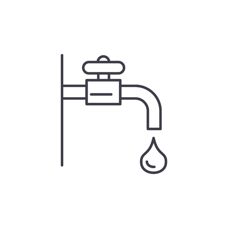 Water tap line icon concept. Water tap vector linear illustration, sign, symbol