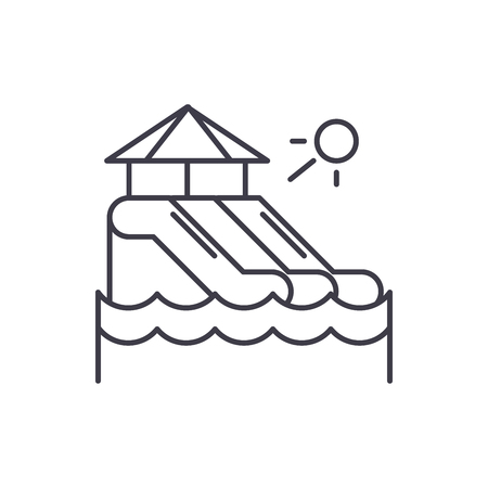 Waterslides line icon concept. Waterslides vector linear illustration, sign, symbol