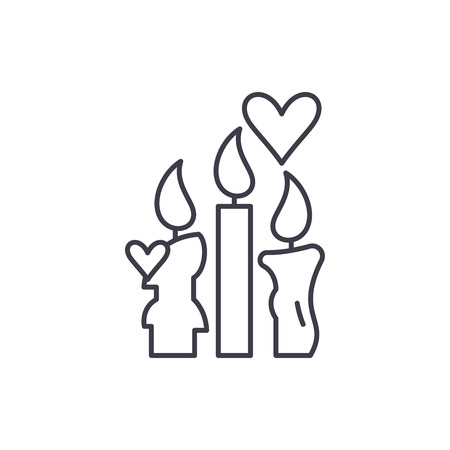 Wax candles line icon concept. Wax candles vector linear illustration, sign, symbol