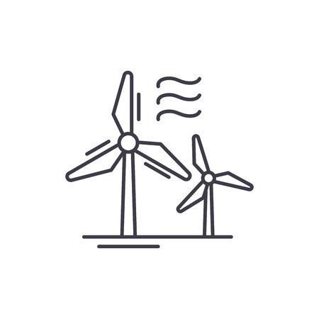 Concetto dell'icona della linea di energia eolica. Illustrazione lineare del vettore di energia eolica, segno, simbolo Vettoriali
