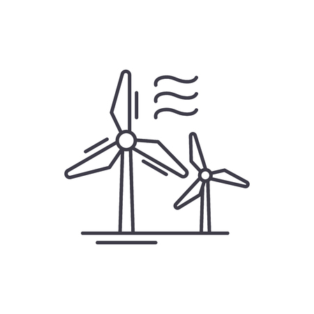 Wind power line icon concept. Wind power vector linear illustration, sign, symbol