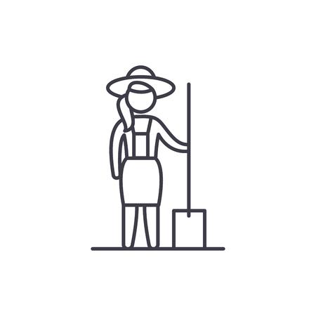 Woman farmer line icon concept. Woman farmer vector linear illustration, sign, symbol