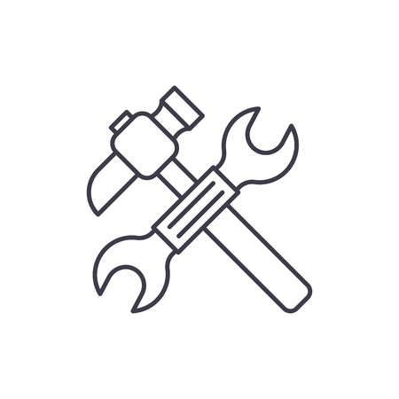 Wrench and hammer line icon concept. Wrench and hammer vector linear illustration, sign, symbol