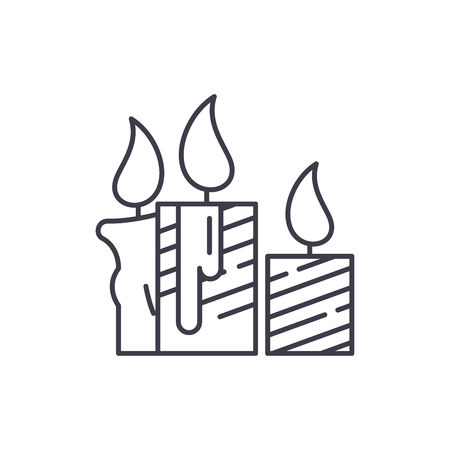 Wax light candles line icon concept. Wax light candles vector linear illustration, sign, symbol