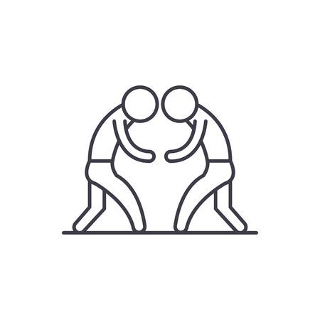 Wrestling line icon concept. Wrestling vector linear illustration, sign, symbol