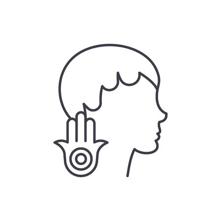 Concepto de icono de línea de debilidad. Ilustración linear del vector de debilidad, signo, símbolo