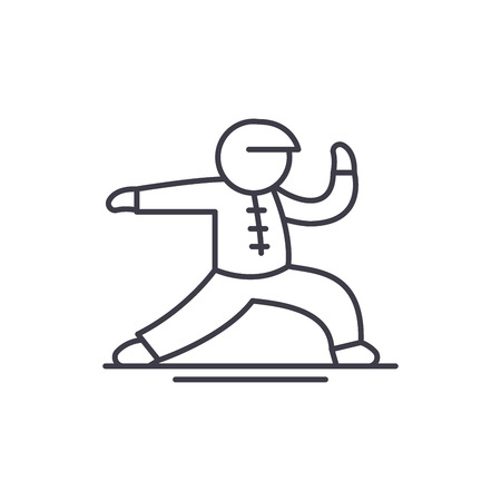 Wushu line icon concept. Wushu vector linear illustration, sign, symbol