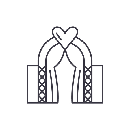 Wedding line icon concept. Wedding vector linear illustration, sign, symbol
