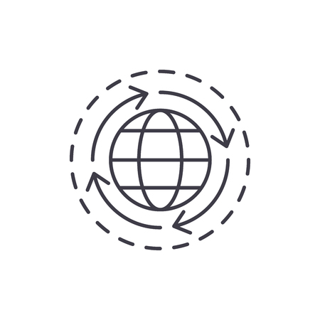 World economy line icon concept. World economy vector linear illustration, sign, symbol