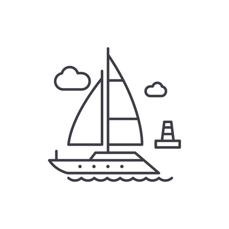 Yacht line icon concept. Yacht vector linear illustration, symbol, sign