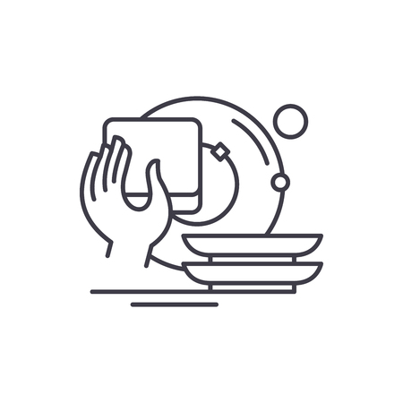 Washing dishes line icon concept. Washing dishes vector linear illustration, sign, symbol