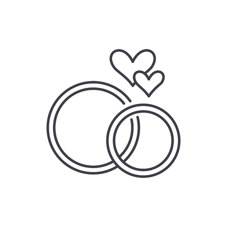 Wedding rings line icon concept. Wedding rings vector linear illustration, sign, symbol