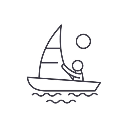Yachting line icon concept. Yachting vector linear illustration, sign, symbol  イラスト・ベクター素材