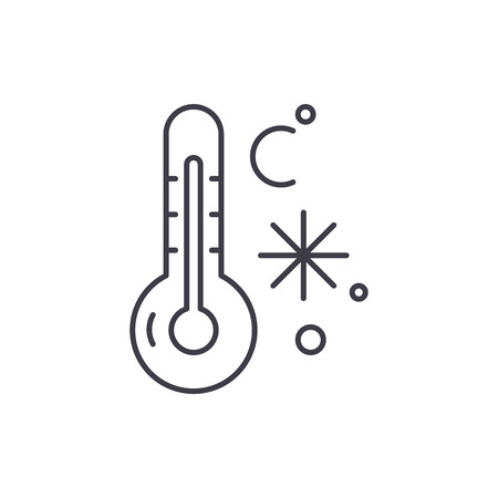 Winter temperature line icon concept. Winter temperature vector linear illustration, sign, symbol