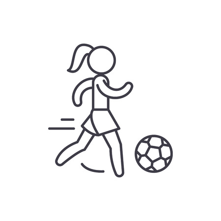 Womens football line icon concept. Womens football vector linear illustration, sign, symbol