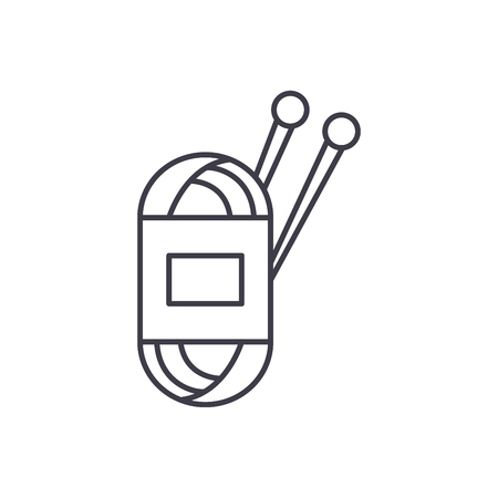 Yarn line icon concept. Yarn vector linear illustration, sign, symbol