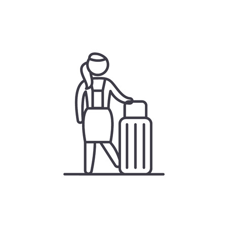 Womens travel line icon concept. Womens travel vector linear illustration, sign, symbol