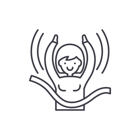 Womens victory line icon concept. Womens victory vector linear illustration, sign, symbol